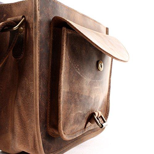 LECONI Ledertasche Umhängetasche Schultertasche Freizeittasche Damen Herren Echtleder vintage Büffelleder 28x26x10cm LE3062 braun �?vintage