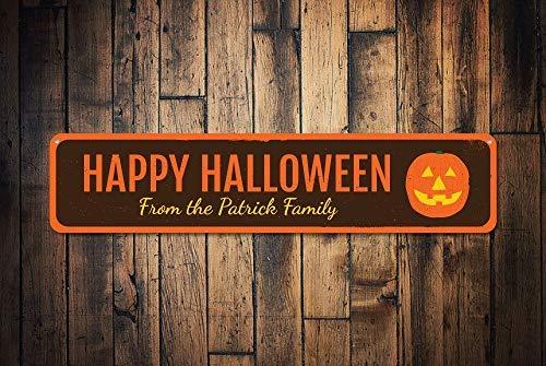 Halloween Schild Personalisiertes Kürbis Familienname Schild, Metallschilder, lustiges Aluminium-Schild für Garage, Haus, Hof, Auffahrt. ()