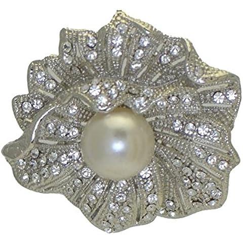 STRELIZIA Silver Crystal Pearl sciarpa Clip