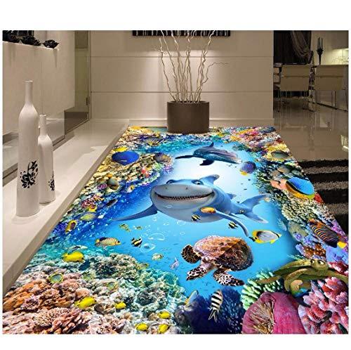 Newberli 3d pvc bodenbelag benutzerdefinierte foto selbstklebende marine world shark delphin coral dekoration schlafzimmer malerei 3d wandbild tapete