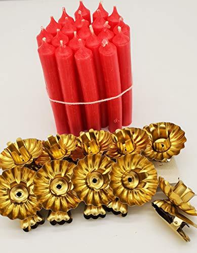 modern 20 Stück Baumkerzenhalter mit 40 Stück Baumkerzen Kerzenhalter Weihnachtsbaumkerzenhalter Gold Christbaumkerzenhalter mit Clip in Gold