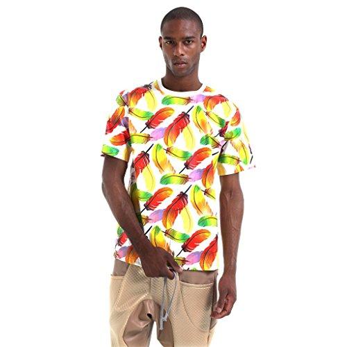 Pizoff Unisex Hip Hop urban schwarz Kunstleder T shirts mit Druckmuster P3616-Yellow