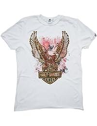 H D Classic Homme Men T-shirt blanc Official Merchandise Harley Davidson Eagle Logo Aigle