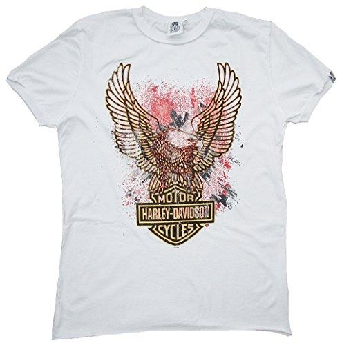 H D CLASSIC Herren Men T-Shirt Weiss Official HARLEY DAVIDSON Merchandise Eagle Logo Adler XXL 56/58 (Harley Eagle Davidson Mens)