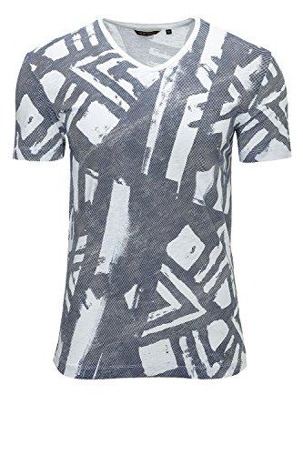 Antony Morato Herren T-Shirt Print-Shirt V-Neck Bianco (Col. 1000)