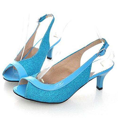 Tacco Peep Gattino Sandali Scarpe Slingback Blu Moda Toe Medio Brilla Donna Taoffen Tacco Sera wvEHFvIq