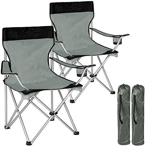 Bakaji coppia sedie pieghevoli da campeggio con borsa camping sedia mare spiaggia pesca da esterno in acciaio e poliestere con vano porta bibite e smartphone (grigio)