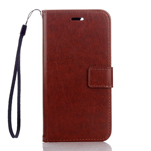 Funda iPhone 7 Plus (5,5 zoll) Case , Ecoway PU Leather Cuero Suave Cover Con Flip Case TPU Gel Silicona,Cierre Magnético,Función de Soporte,Billetera con Tapa para Tarjetas ,Carcasa Para iPhone 7 Plus (5,5 zoll) - marrón