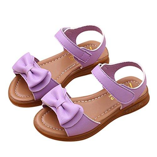 Hmeng Kinderschuhe Mädchen Sandalen Bowknot Prinzessin Schuhe mit Klettverschluss Rutschfest (37, Violett)