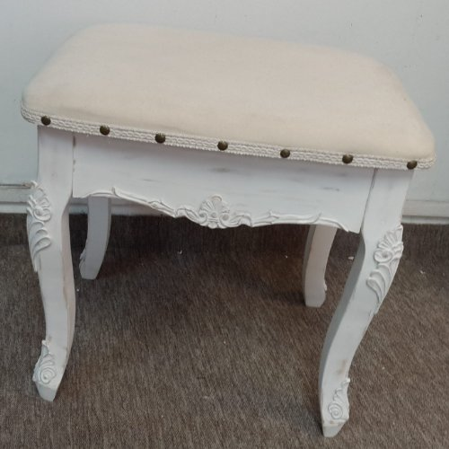 Large french white dressing table stool - distressed legs carved wood with cream fabric