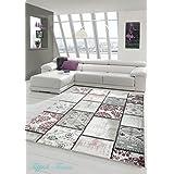 Edler alfombra diseñador área Alfombra moderna alfombra del modelo del remiendo de la vendimia Heather Karo en púrpura crema Negro Gris Rosa Größe 80x150 cm