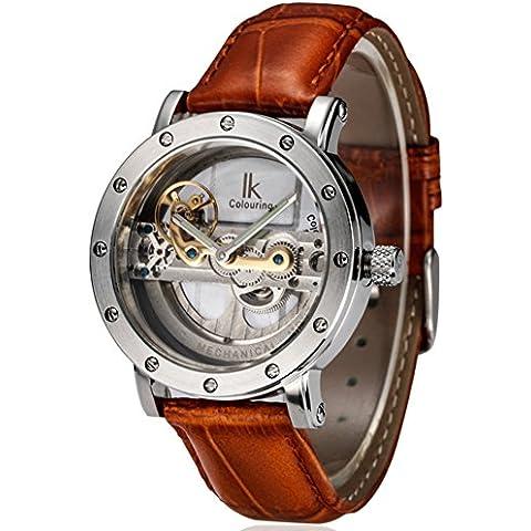 In pelle Cintura double-sided Cave automatici orologi meccanici/ sport di moda maschile orologio-A