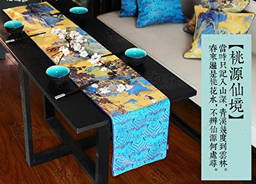 ZQG® Tischläufer Neue chinesische Art Taoyuan Wunderland Jurchen-China-Wind-Gewebe-Tabellen-Markierungsfahne Striped Home Textile Tischdecken Leinen Tischdecke - Clip-art-halloween Owl