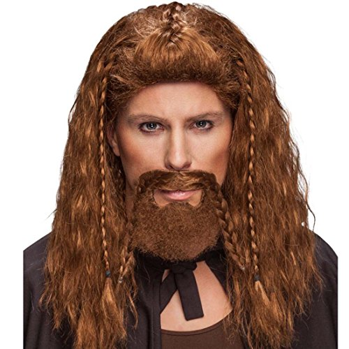 Wikinger Bart künstlicher Bart zum Ankleben kupferfarben Bart mit Zöpfen Piratenbart Schottenbart Höhlenmensch Kunstbart