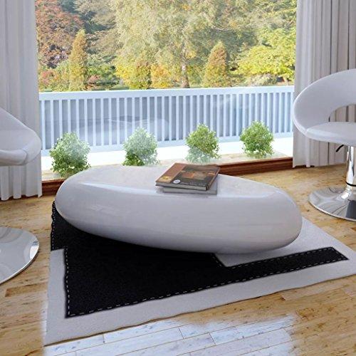 furnituredeals Kaffee Tabellen mit Dimension 100x 50x 28cm Couchtisch Fiber Glas weiß (Glas-wohnzimmer-akzent-tabelle)