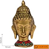 [Sponsored]GAURI KOHLI: Lord Gautam Buddha Head Face Brass Statue Idol Figurine Handcrafted & Embellished With Semi-Precious Stones | For Desk/Table Top