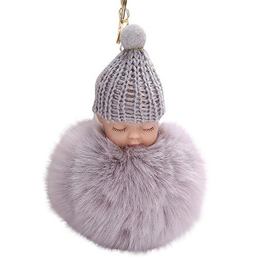 (Gaddrt Schlüsselkette 8 cm Nette Puppe Keychain Anhänger Frauen Schlüsselanhänger Halter Pom Pom Schlüsselanhänger (Grey))