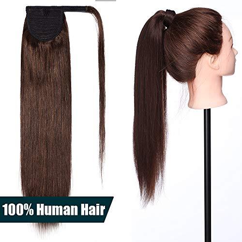 Extension coda capelli veri remy coda di cavallo 50cm #4 marrone cioccolato - clip capelli umani 100% human hair lunghi naturali lisci fascia unica ponytail wrap 95g