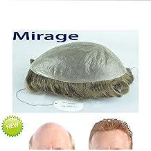 Multi-Color Echthaar Mirage Herren Haarteile Piece Toupet Replacement System Remy Hair Slight Wave (Color 720)