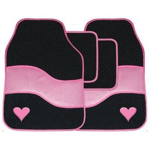 4pc Velour Auto Mat Fußraum Teppich Set mit farbigen binden Detail & Herz Motiv - Pink -