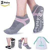 Muezna Non Slip Yoga Socks for Women, Anti-skid Pilates Barre Bikram Studio Socks with Grips