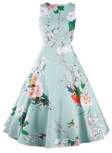 Azbro Women's Vintage Sleeveless Floral Print A-line Dress Multi-1
