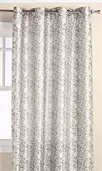 Editex Home Textiles Corina Jacquard Window Panel, 52 by 84-Inch, Silver