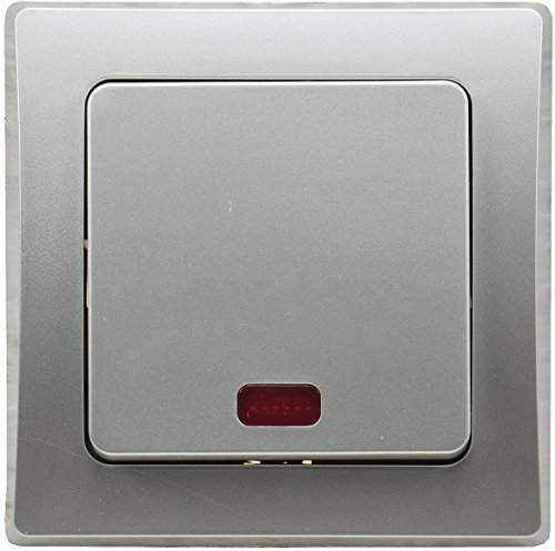 DELPHI Kontroll-Schalter mit Beleuchtung Orientierungsschalter inkl. Rahmen Unterputz silber - Unterputz 1 Licht