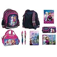 Frozen La Reine des Neiges Set 8 pièces Sac a dos cartable, trousse, stylos, carnet journal, sac de sport, chemise A4, set de 4 tampons