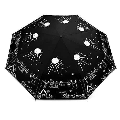 OMOTON Regenschirm mit automatischem Knopf, die Farbe wechseln bei Nässe Windfest, kompakte Design, 8 verstärkten Rippen, in Sonne-Form, schwarz