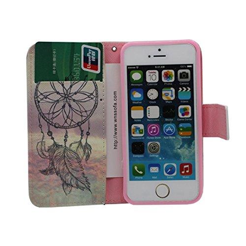 Foliant Flip PU Case Leder Brieftasche Hülle Schutzhülle Tasche für Apple iPhone 5 / 5S / SE / 5G Schwarz, Karte Halter Stand Funktion, Hübsch Gedruckt Malerei Bild Stil - The Lion King A7
