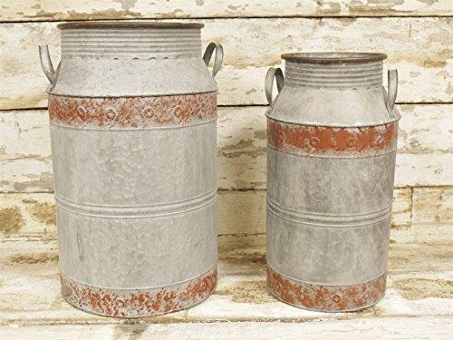 CHADDERTON Farm-Set von zwei Distressed Stahl Milchkannen