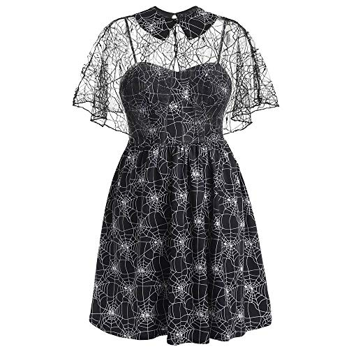Auifor✿Frauen Plus Size Halloween Party Cobweb Print Garn ärmellose Hosenträger Kleid -
