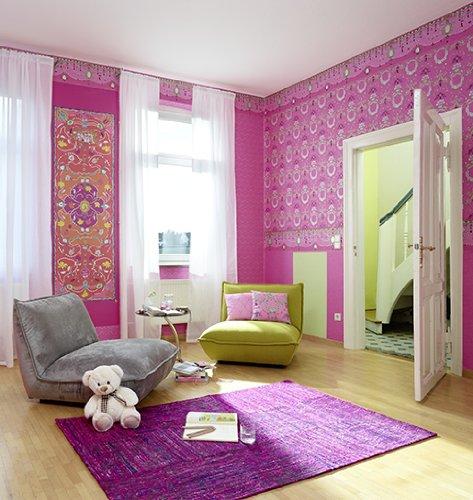 erismann-mia-vita-jill-carta-da-parati-7308-50-rosa-koralle-bambini-ornamenti-nuovo