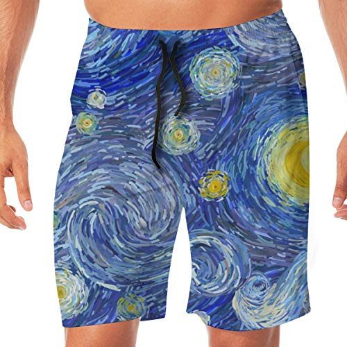Jeroty Mens Beach Shorts Glowing Moon and Starry Sky Swim Trunks Summer Casual Male Swimsuit Quick Dry