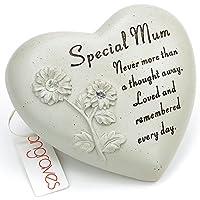 Angraves Special Mum Flower Diamante Heart Graveside Memorial Ornament Plaque With Verse