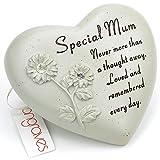 Special Mum Flower diamante targa commemorativa cuore ornamento con versi