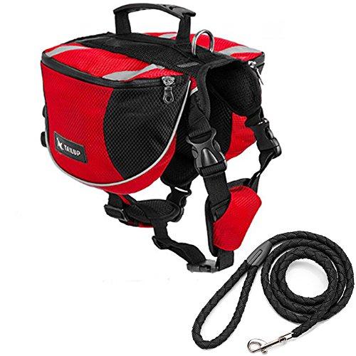 Hunde Rucksäcke Satteltasche Wandern Einstellbar Sattel mit Einer Freien Leine S M L (L: zum 27-40 KG Haustier, rot)