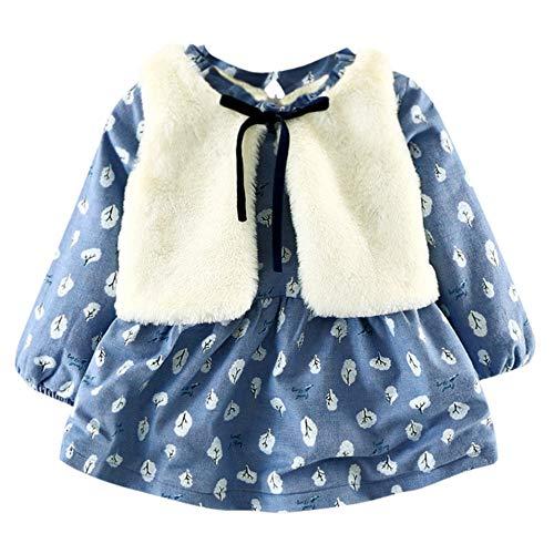 Hniunew Baby MäDchen Floral Prinzessin Kleid Set Warme 2Er Outfits Dunkelblau Kleid Plus Samt Daisy Drucken PlüSchkleid Abendkleid Partykleid Cocktailkleid Festliches Kleid Winterkleid