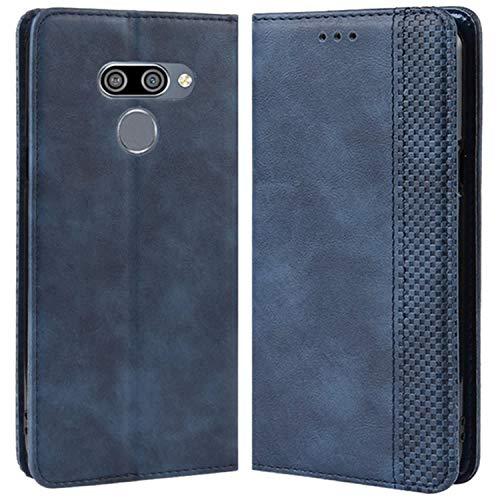 HualuBro Handyhülle für LG Q60 Hülle, Retro Leder Brieftasche Tasche Schutzhülle Handytasche LederHülle Flip Case Cover für LG Q60 2019 - Blau