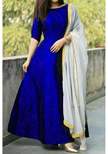 M P STORE Special designer royal BLUE Gown for Women/Girls blue color for party wear piece