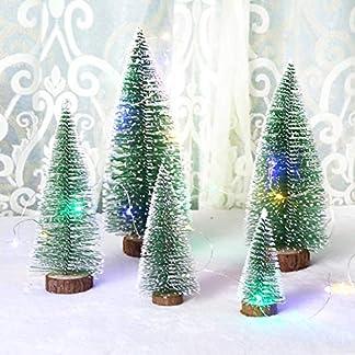 WZR Mini Modelo De Nieve Árbol De Navidad,Cepillo árboles Plástico Invierno Adornos Mesa Decoración Navideña