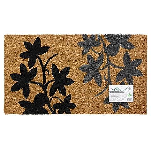 JVL Floral Gemustert Fußmatte Kokosfaser mit Latex, schwarz/grau, 40x 70cm, Natur/Schwarz/Grau