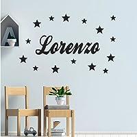 Stickers mural prénom 8 polices au choix + 15 étoiles. Décoration mur chambre enfant/bébé fille ou garçon. 14 couleurs…