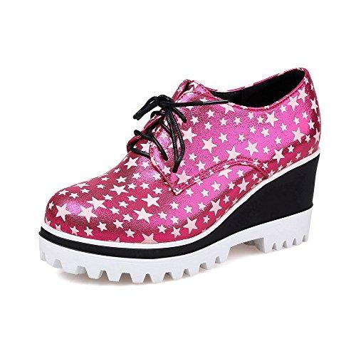 AgooLar Damen Schnüren Pu Leder Rund Zehe Hoher Absatz Gemischte Farbe Pumps Schuhe Rosa