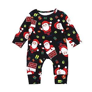 Infant Baby Jungen Mädchen Weihnachten Xmas Cartoon Santa Strampler Overall Outfits