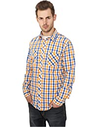 Urban Classics Tricolor Big Men Checked Shirt TB414 , color:royal/white/orange;size:L
