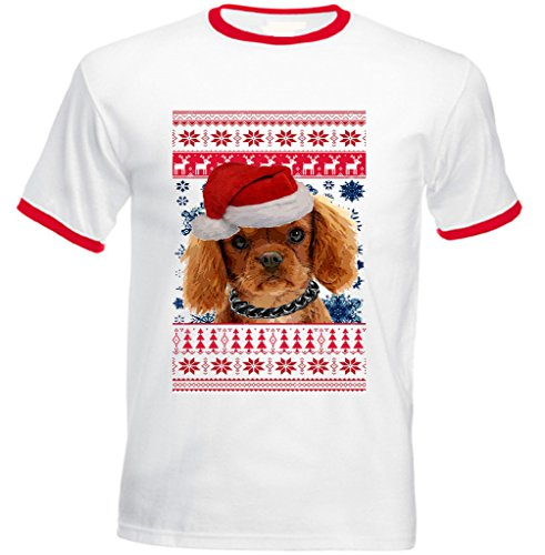 Teesquare1st Men's SANTA KING CHARLES SPANIEL PUPPY CHRISTMAS Red Ringer T-shirt Size Medium