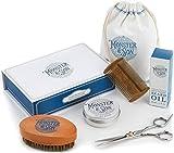 Monster&Son Premium Bartpflege Set 7-Teilig | Bartöl, Bart Balsam, Bart Bürste, Bartkamm, Bartschere, Canvas Reisetasche | Bartpflegeset für Männer, Ideales Geschenkset Herren