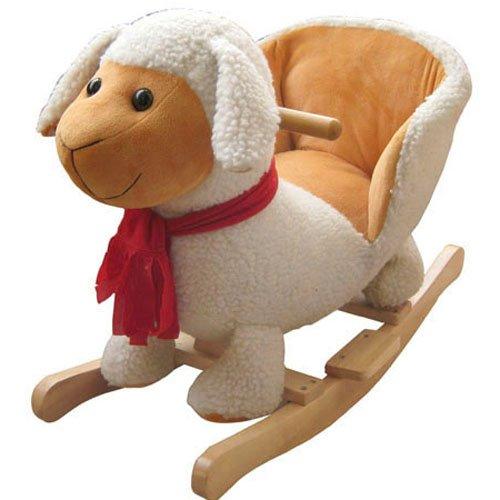 *Schaukelpferd Schaukel Plüsch Schaukeltier Stuhl Sound Baby Kinder (Schaf 215116)*
